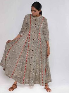 Description: It is a block printed panel dress with front button down. Length of the dress is Size Chart - These are garment measurements: XS - Chest : 33 India Fashion, Ethnic Fashion, African Fashion, Indian Attire, Indian Wear, African Dress, Indian Dresses, Kurti Patterns, Dress Patterns