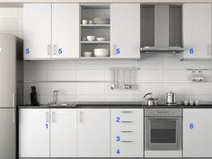 ARMARIO BÁSICO: 1- Um paneleiro de duas portas, ou duas gavetas, que geralmente fica embaixo da pia.  2- Duas gavetas para talheres, além dos talheres tradicionais temos facas, conchas, abridores, etc.  3- Uma gaveta para toalhas e jogos americanos (jogos americanos ocupam menos espaço e com isso, podemos ter mais quantidade, para poder variar).  4- Uma gaveta para panos de prato.  5- Uma parte de armário para: 1º- copos, 2º- pratos fundos, 3º- pratos rasos, 4º- xícaras e pratos de…