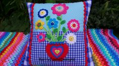 PATCHWORK Crochet CUSHION, Handmade by KerryJayneDesigns, blue gingham, COLOURFUL crochet flowers, buttons, braids and hearts, Lovely gift.