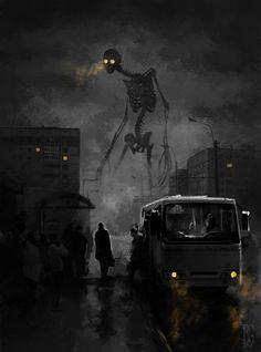 Boris Groh's Giant Skeleton : creepy Fantasy Kunst, Dark Fantasy Art, Arte Horror, Horror Art, Creepy Horror, Giant Skeleton, Images Gif, Arte Obscura, Creepy Art