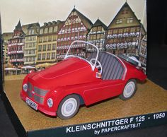Kleinschnittger F 125 Kleinschnittger was a German company that between 1950 and 1957 produced microcars. They were powered by a 125 cc single cylinder two-stroke engine that produced 4 kW (5.4 hp) and a top speed of 70 km/h (43 mph). It was very fuel efficient and consumed less than 3 litres per 100 km (~.79 US gal per 60 mi). The body was in aluminium. The F250 was fitted with a 250 cc engine from ILO giving 11 kW (14.8 hp). This Paper Model comes in a 1.35 Scale.