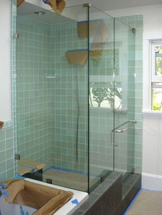 Tile showers with glass doors