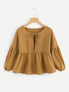 Shop Bishop Sleeve Ruffle Hem Blouse at ROMWE, discover more fashion styles online. Teen Fashion Outfits, Hijab Fashion, Trendy Outfits, Girl Outfits, Fashion Dresses, Casual Hijab Outfit, Blouse Outfit, Looks Plus Size, Mode Hijab