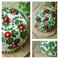Senni - My first sandwich cake decoration ever. This salmon filled cake is decorated with coriander leaves, tomatoes and peas. Sandwich Torte, Sandwich Ideas, Appetizer Recipes, Appetizers, Good Food, Yummy Food, Food Garnishes, Snacks Für Party, Food Decoration