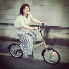 Asuka cycling around our neighbourhood - Showa-cho, Yamanashi, Japan.