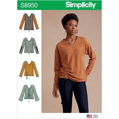 Misses Knit Sweater Tops with Variations Simplicity Sewing Pattern 8950.