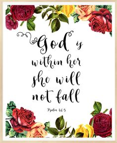 Psalm 46:5 God is within her she will not by LeelaPrintableArt #bible_verse…