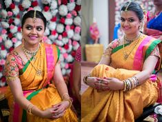 South Indian bride. Gold Indian bridal jewelry.Temple jewelry. Jhumkis. Mustard yellow silk kanchipuram sari.Braid with fresh jasmine flowers. Tamil bride. Telugu bride. Kannada bride. Hindu bride. Malayalee bride.Kerala bride.South Indian wedding.  20 Repins   6 Likes
