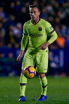 VALENCIA, SPAIN - DECEMBER 16: Arthur Melo of FC Barcelona in action during the La Liga match between Levante UD and FC Barcelona at Ciutat de Valencia on December 16, 2018 in Valencia, Spain. (Photo by David Aliaga/MB Media/Getty Images) Fc Barcelona, Barcelona Futbol Club, Action, Football Wallpaper, Soccer, Sports, Valencia Spain, Idol, Celebrities