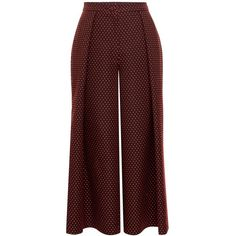 Emily Lovelock - Polka Jacquard Culottes ($110) ❤ liked on Polyvore featuring pants, capris, brown trousers, jacquard pants, brown pants and jacquard trousers