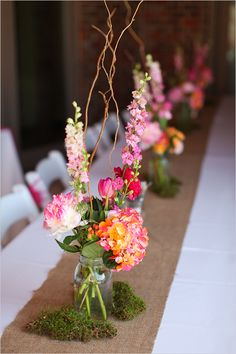 Easy diy mason jar wedding florals...love the moss and twigs...been looking for something like this!!!