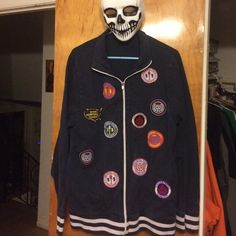 Nautica Zip-Up Nautica Zip-Up Jacket, color navy/white w/ lots of patches on the front, size XL, previously loved, great to just throw on and go Nautica Tops Sweatshirts & Hoodies