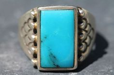 Vintage Signed Navajo Style Sterling Silver  Turquoise Mens Ring -New Old Store Stock