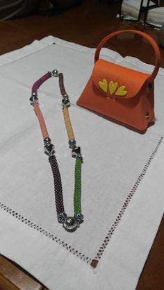 """bead crochet_collana """"4 Stagioni""""__anche la borsettina porta gioie è fatta da me"""