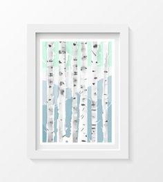 Birch Trees Forest Art Print Light Blue Mint by Littlecatdraw, $8.00