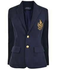 Polo Ralph Lauren Coat Of Arms Blazer ($315) ❤ liked on Polyvore featuring outerwear, jackets, blazers, navy, polo ralph lauren blazer, single breasted jacket, short-sleeve blazers, navy blazer and navy jacket
