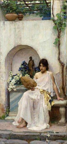 Flora [white dress] by John William Waterhouse, 1890