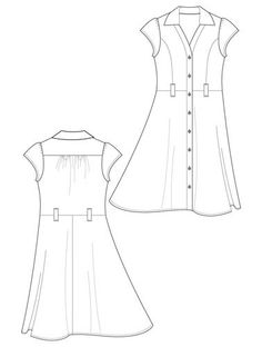 free fashion sketch downloads - use them to practice drawing different details so you can eventually draw your own  Flat Fashion Sketch - Dress 042