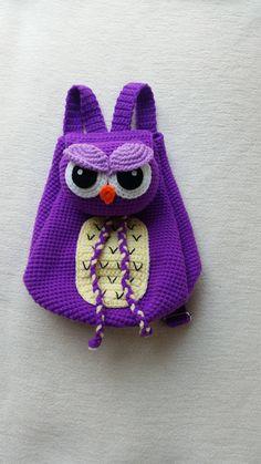Buho mochila Crochet cumpleaños regalo, regalo de Navidad, babyshower perfecto a cualquier childern.