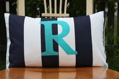 Monogrammed Lumbar Pillow Cover  Navy and White by nest2impress, $22.00