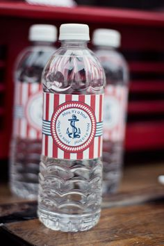 DIY Printable Water Bottle Labels - Ahoy It's a Boy Baby Shower - Nautical. $7.00, via Etsy.
