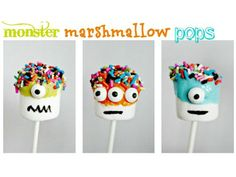 How cute are these monster marshmallow pops? Use large marshmallows, lollipop sticks, candy, sprinkles, melted candy, and a black food writer pen to create these nefarious nibble