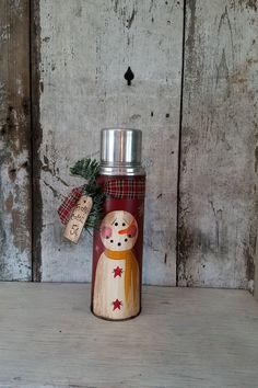 Primitive Country Snowman on Vintage by FlatHillGoods on Etsy