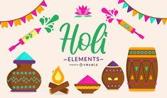 Colorful illustration design featuring different Holi festival elements . Works great on posters, banners and other Holi festival promotional materials and Powerpoint Free, Creative Powerpoint, Layout Template, Create A Logo, Printed Materials, Layout Design, Your Cards, Holi, Banner