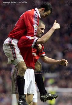 October 30 1999, Manchester United 3 - 0 Aston Villa, with goals from Roy Keane, Andy Cole and Paul Scholes.  Pictured:  Ryan Giggs celebrates with Keane.