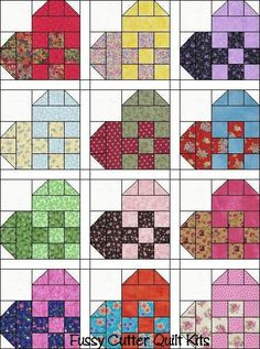 """Hearts Scrappy Calico Patch Fabric Pre-Cut Quilt Top Blocks Kit (re-cut fabric for 12 - 10"""" blocks) $24.29 on Fussy Cutter Quilt Kits at http://www.fussycutter.com/product_info.php?products_id=110"""