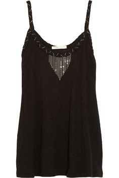 Egaler chain-embellished linen-jersey top #london #shopping #fashion #retailer #gng   Check more at https://www.guysandgirls.london/product/egaler-chain-embellished-linen-jersey-top/