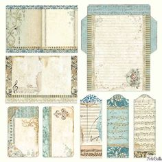 Paper Pad - Music Double Sided Sheets) by Stamperia for Scrapbooks, Cards, & Crafting - Scrapbooking Papel Vintage, Vintage Paper, Papel Scrapbook, Scrapbook Cards, Journal Paper, Journal Cards, Junk Journal, Diy Paper, Paper Crafts