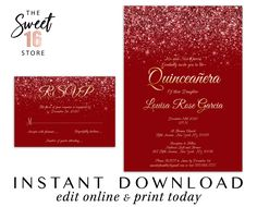 Sweet 16 Invitation & RSVP Card Set, Luxury Red Glitter Sweet Sixteen Invitation and Response Card S Text Message Invitations, Invitation Text, Save The Date Invitations, Wedding Invitation Cards, Printable Invitations, Party Invitations, Glitter Party Decorations, Quinceanera Invitations, Quinceanera Party