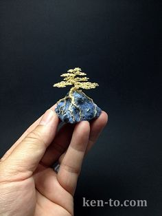Gold wire bonsai tree by Ken To on a blue rock by KenToArt.deviantart.com on @deviantART
