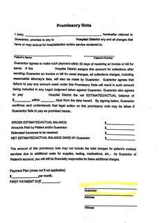 blank promissory note template