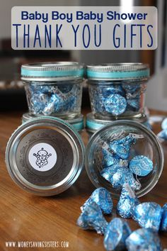 Cute cheap baby shower thank you gifts. All you need are some jelly jars, hershey kisses and ribbon!