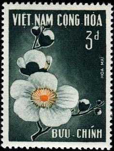 1965 Vietnam PlumBlossoms-Do-duy-Hien Old Stamps, Vintage Stamps, Timor Oriental, Laos, Postage Stamp Design, Flower Stamp, Small Art, Stamp Collecting, Sleeve Tattoos