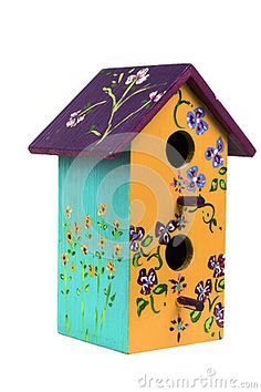 Hand crafted and painted wooden birdhouse
