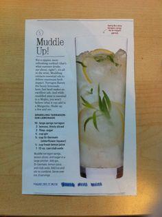 Sparkling tarragon-gin lemonade