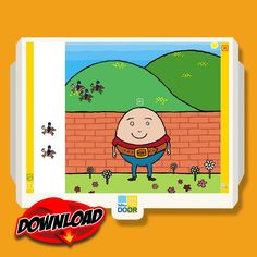 Humpty Dumpty Nursery Rhyme Learning Software Download. Children can move characters around on the screen, practise gross motor skills and matching skills and learn more about eggs with the interactive informational text. Suitable for early childhood, pre-K, Kindergarten and 1st grade. FREE trial available to download. $5