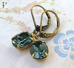 Vintage Rhinestone Earrings Swarovski Crystal Indian Sapphire Antiqued Brass - Bridesmaid gifts (*Amazon Partner-Link)