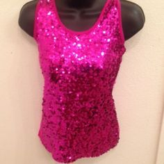 Pink Sequined Tank Pink Sequined Tank. Hot pink tank with pink sequins all over the front.  Cute with a black blazer and heels for a party. Worn once, Like new condition. Tops Tank Tops
