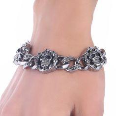 ファッションパンクスカルステンレス鋼の魅力のブレスレットdiyブレスレット&腕輪チャームブレスレット男性pulseiraジュエリーギフト