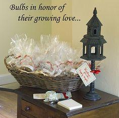 Bulbs as favors for wedding shower.