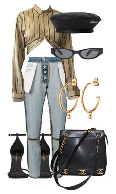 """""""Sans titre #3523"""" by mstfscxrus ❤ liked on Polyvore featuring Yves Saint Laurent, Unravel, Acne Studios, Chanel and Dyrberg/Kern"""
