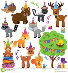 colección-del-vector-de-animales-del-bosque-o-del-arbolado-de-la-fiesta-de-cumpleaños-41216411.jpg (1300×1390)
