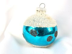 Vintage Christmas Ornament, Teal Polka Dot Holiday Ornament from West Germany