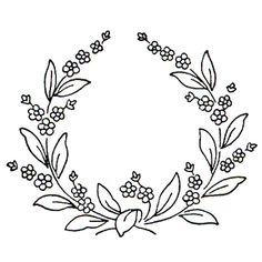 Forget Me Not Flowers in a wreath, cute little pattern!  Discontinued rubber stamp.  Nice little French knots for flowers.