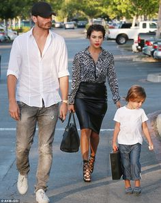 Family time: Khloe's Kardashian Odom sister Kourtney Kardashian and Scott Disick took their son Mason Dash Disick to lunch at Toscanova in Calabasas at The Commons after getting back to Los Angeles