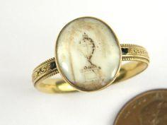 ANTIQUE ENGLISH 18K GOLD SEPIA HAIRWORK URN MOURNING RING ABIGAIL SMITH c1763